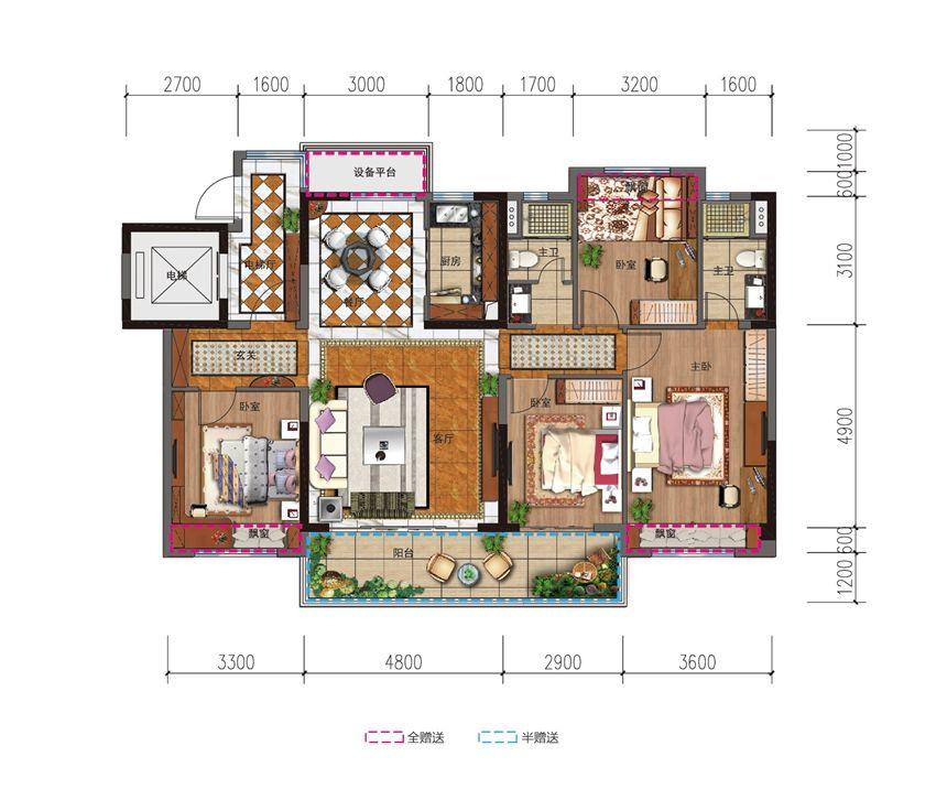 碧桂园城市之光YJ140T光之诗4室2厅142平米