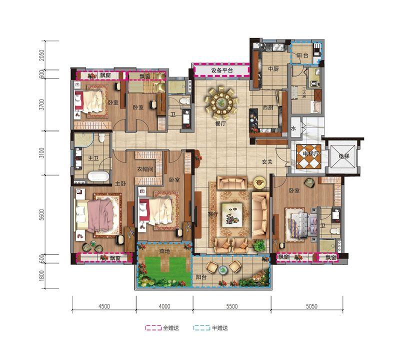 碧桂园城市之光YJ260T光之境5室2厅272平米