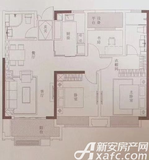 金隅南七里府致户型3室2厅105平米