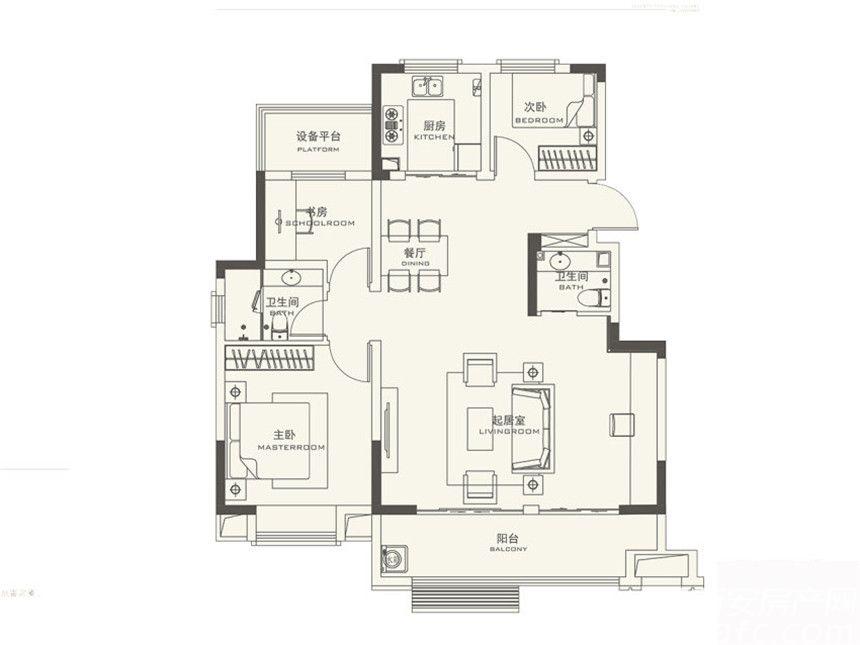 弘阳信德东方印B3室2厅105平米