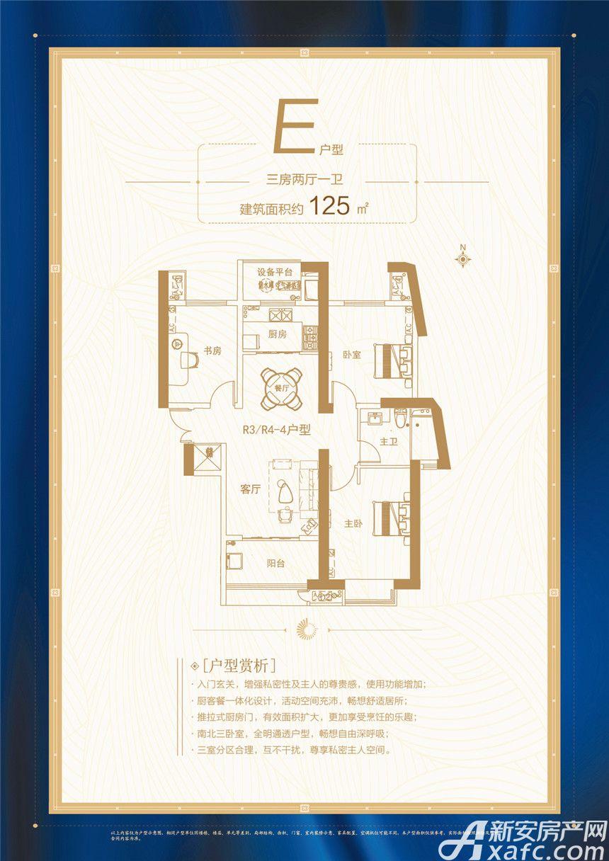 坝上街环球中心E户型3室2厅125平米