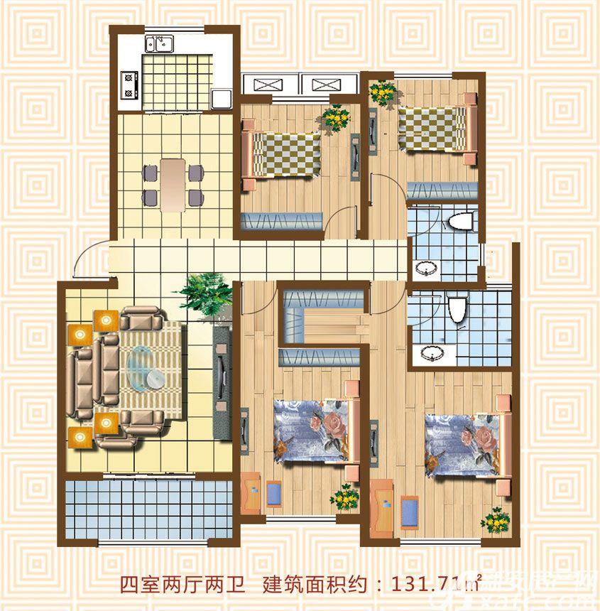 天湖丽景湾天湖丽景湾C户型4室2厅131.71平米