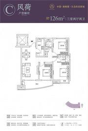 合肥启迪科技城C户型3室2厅126㎡