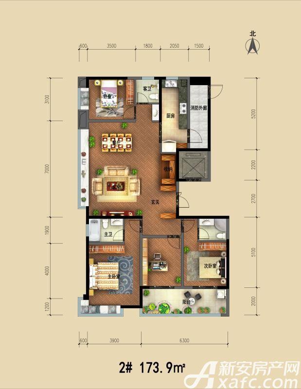 天筑郦城2#173.9㎡4室2厅173.9平米