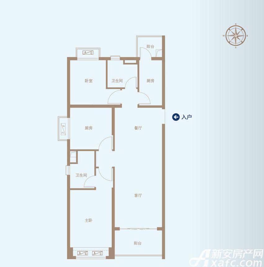 恒大绿洲49#A3室2厅109.64平米