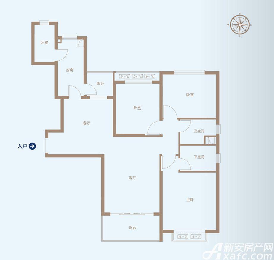 恒大绿洲50#A4室2厅138.55平米