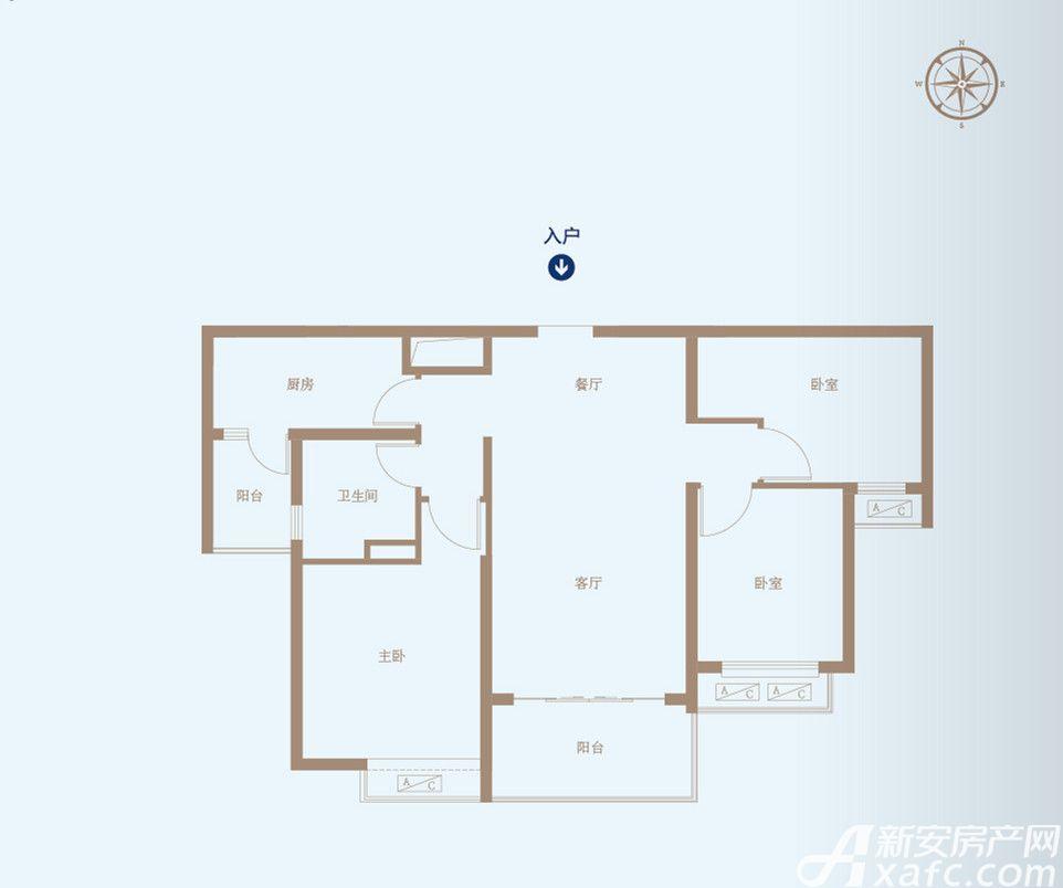恒大绿洲50#B3室2厅105.89平米