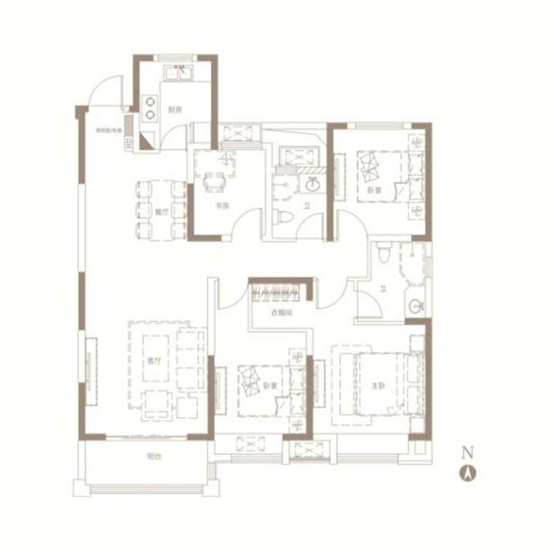 中南漫悦湾B户型4室2厅126平米