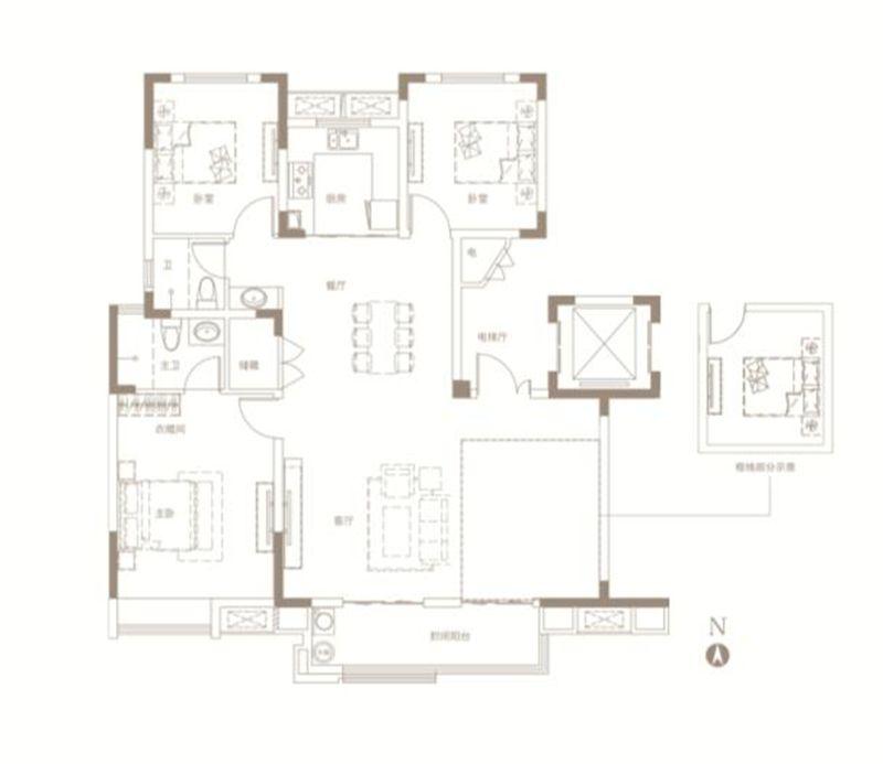 中南漫悦湾D户型3室2厅136平米