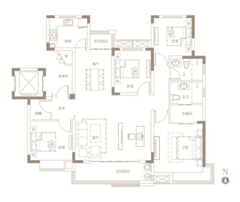 中南漫悦湾E户型4室2厅147平米