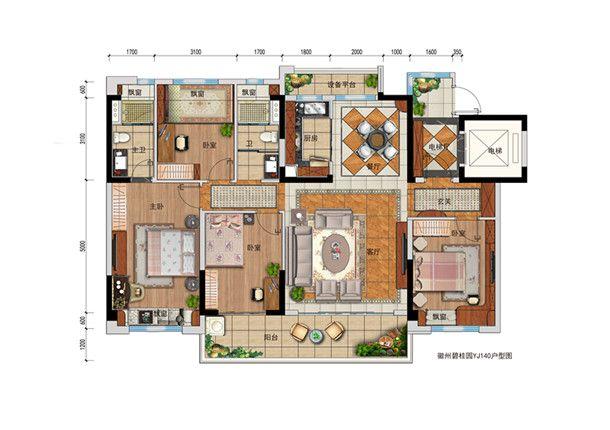 碧桂园·翡翠湾酹江月4室2厅151平米