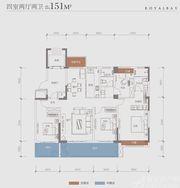 建投御景湾B3户型4室2厅151㎡