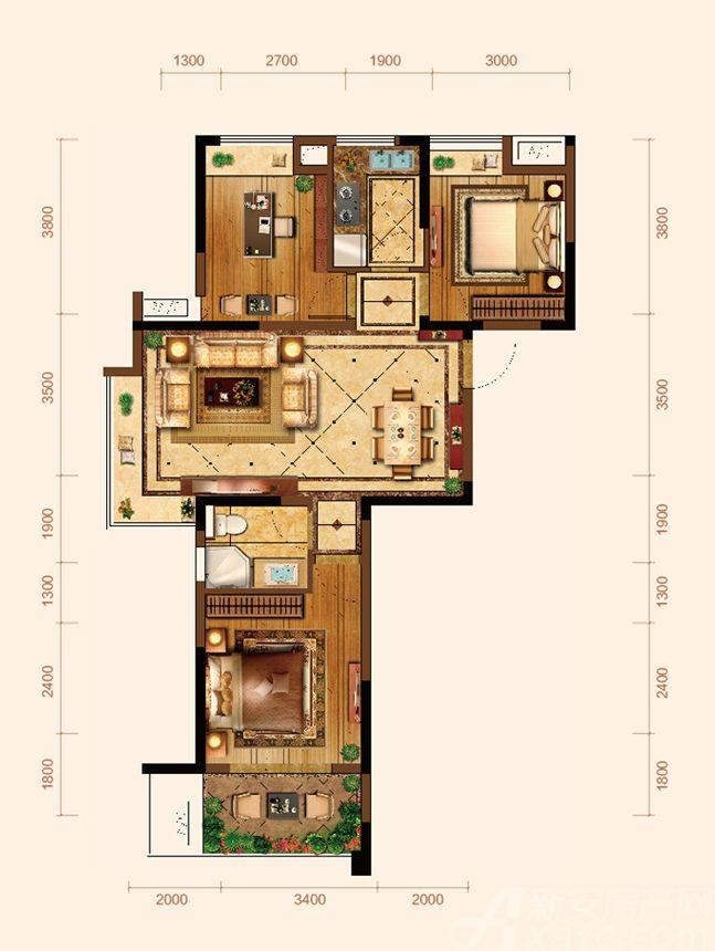 九华江山境E1户型3室2厅90.64平米