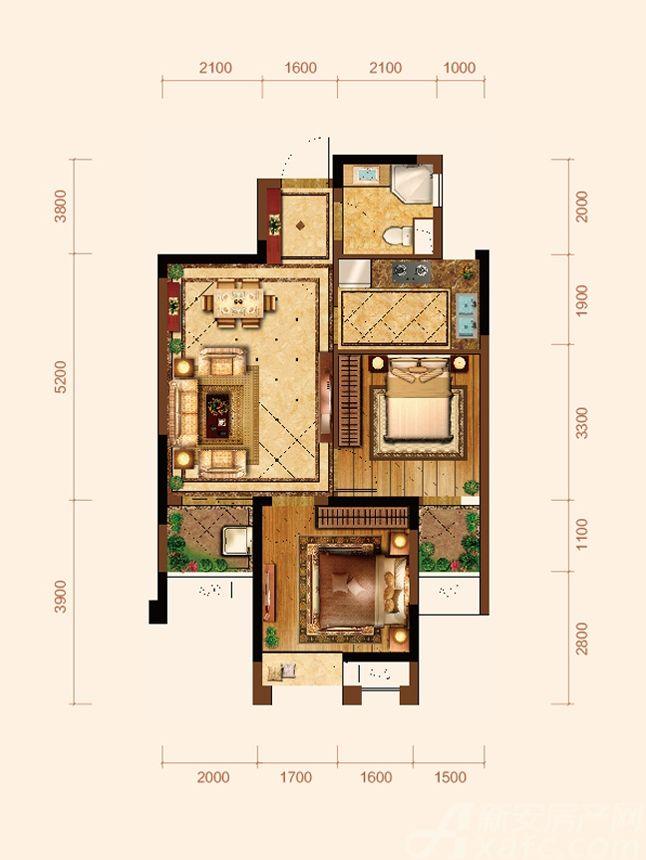 九华江山境E2户型2室2厅69.58平米