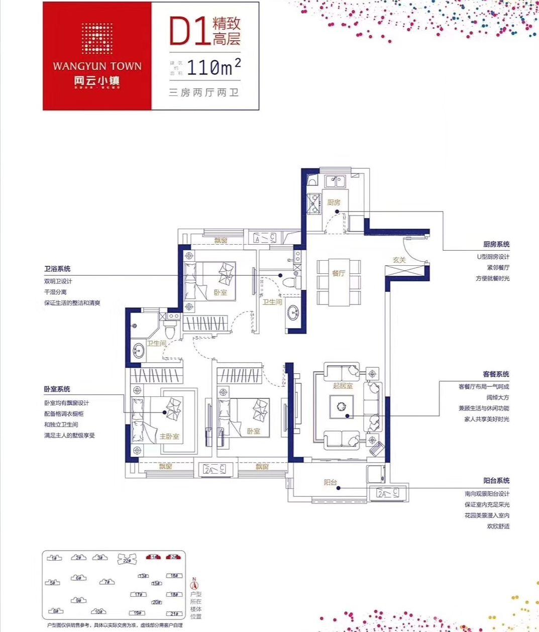 万创▪网云小镇D1户型3室2厅110平米