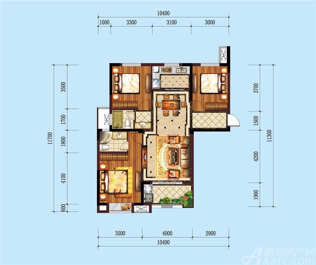 公园道B区御湖L3室2厅116.5平米
