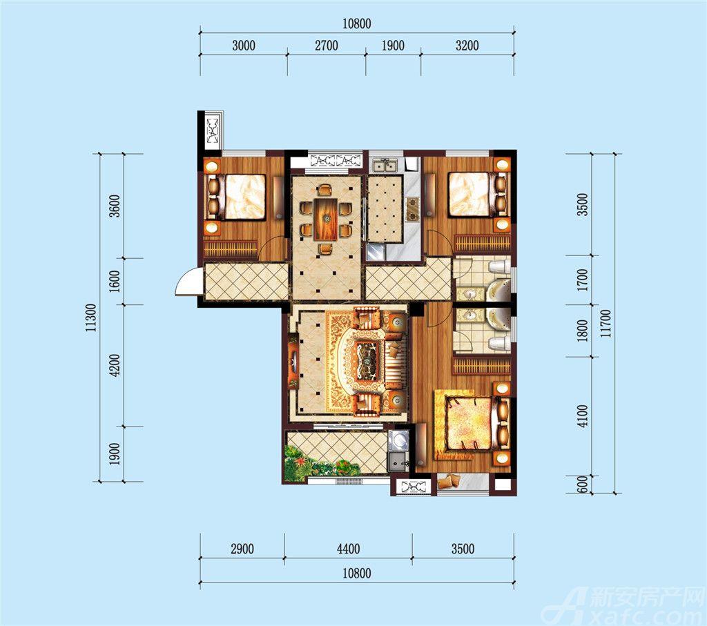 公园道B区御湖N3室2厅126.47平米