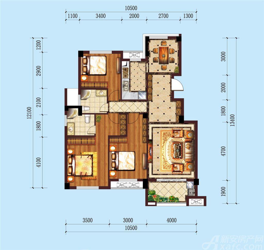 公园道B区御湖F3室2厅119.02平米