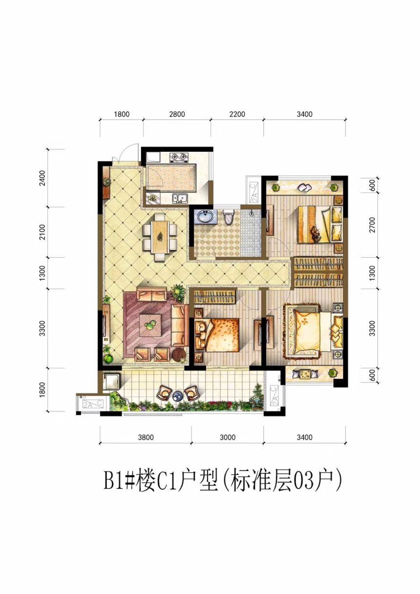 书香雅苑C13室2厅1平米
