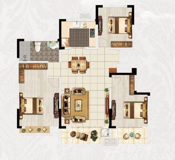 安粮·淮安府A户型3室2厅119平米