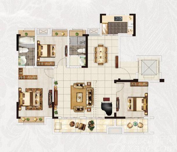 安粮·淮安府B户型4室2厅136平米