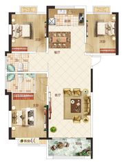 温州商贸城E户型3室2厅120㎡
