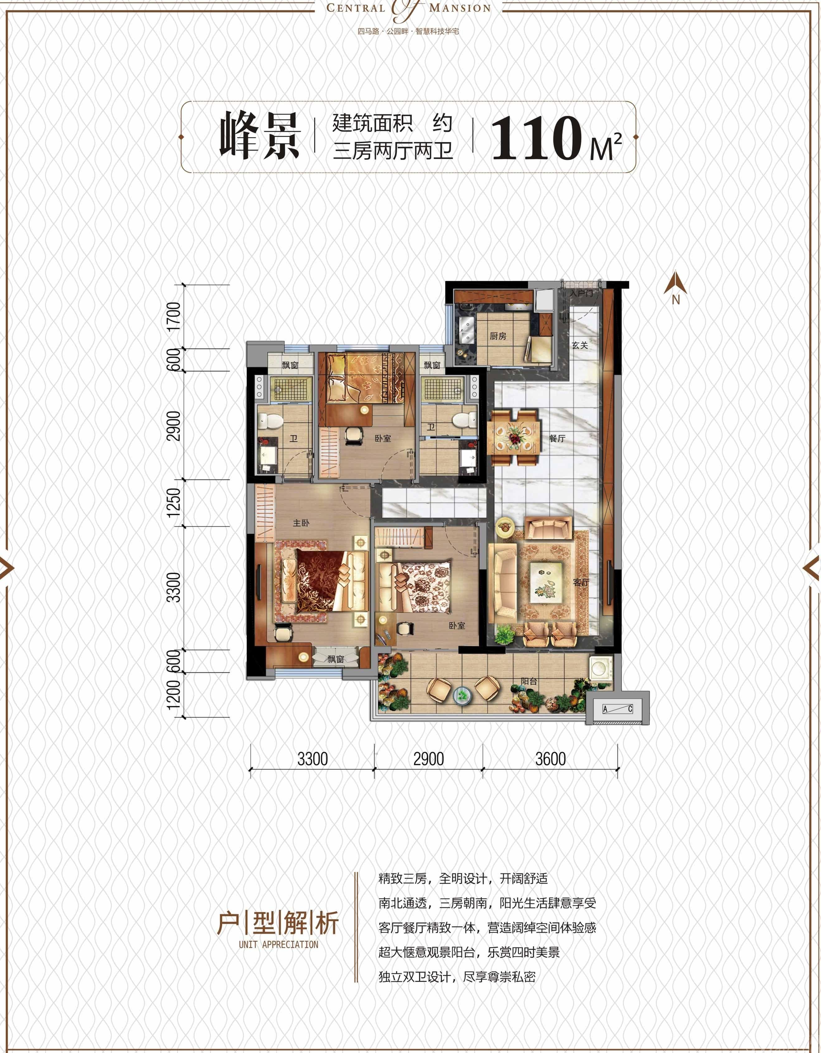 碧桂园天玺峰景3室2厅110平米