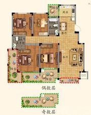 优诗美地D户型140-1454室2厅140㎡