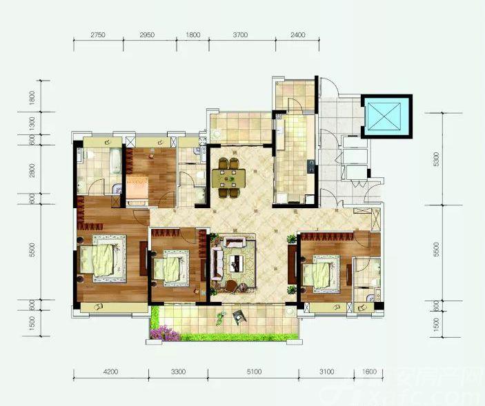 汴河小镇FD(202)户型4室2厅202平米