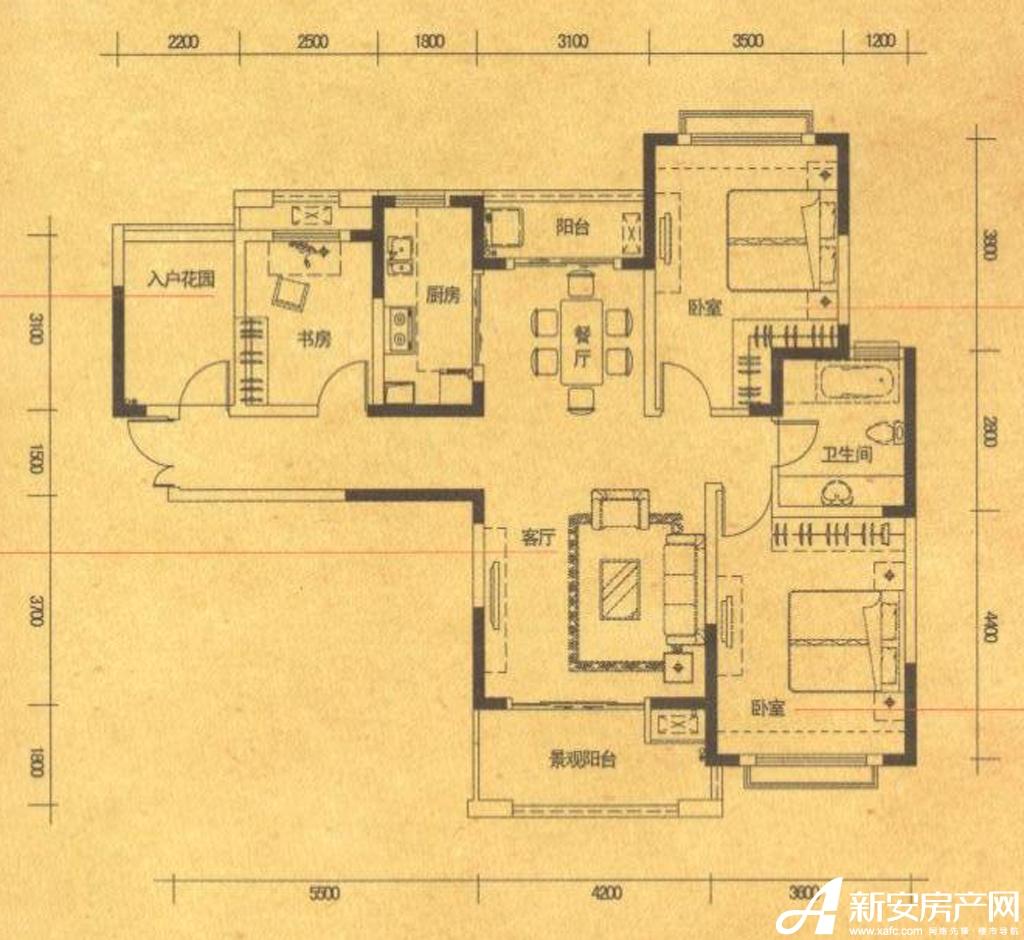 高速铜都天地A33室2厅118平米