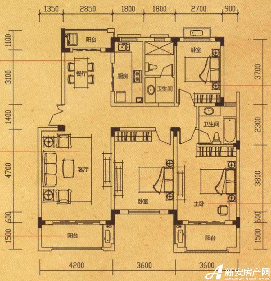 高速铜都天地Y4户型3室2厅122.68平米