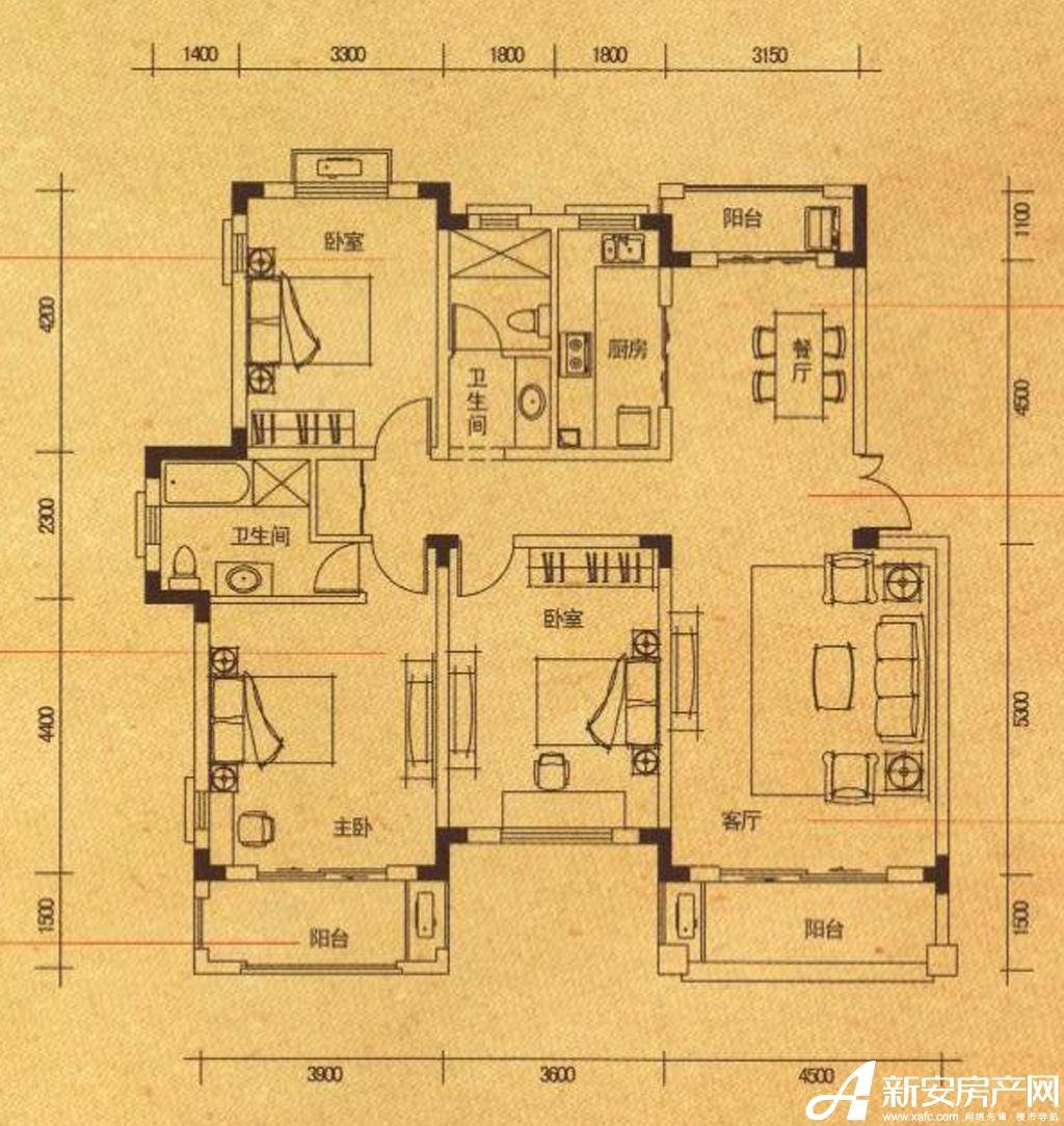 高速铜都天地Y1-1户型3室2厅135.18平米