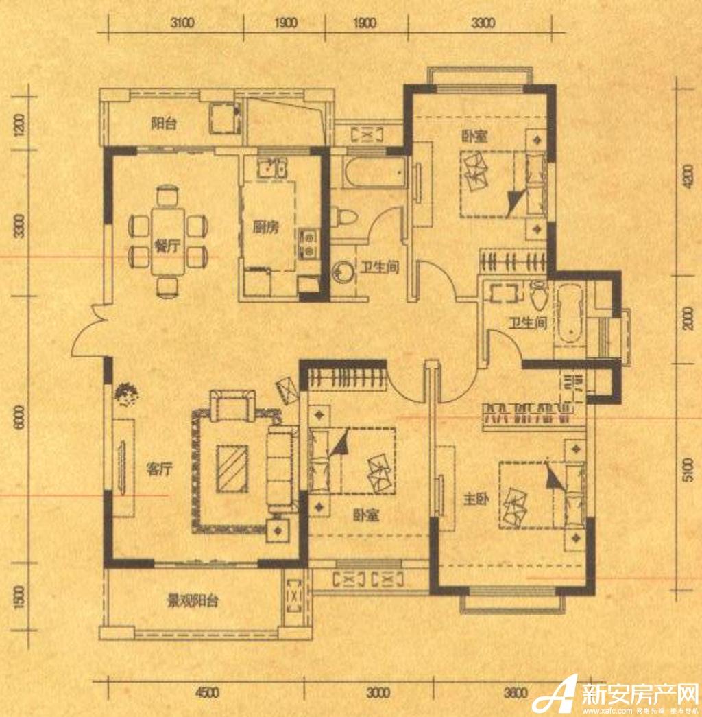 高速铜都天地C3户型3室2厅133平米