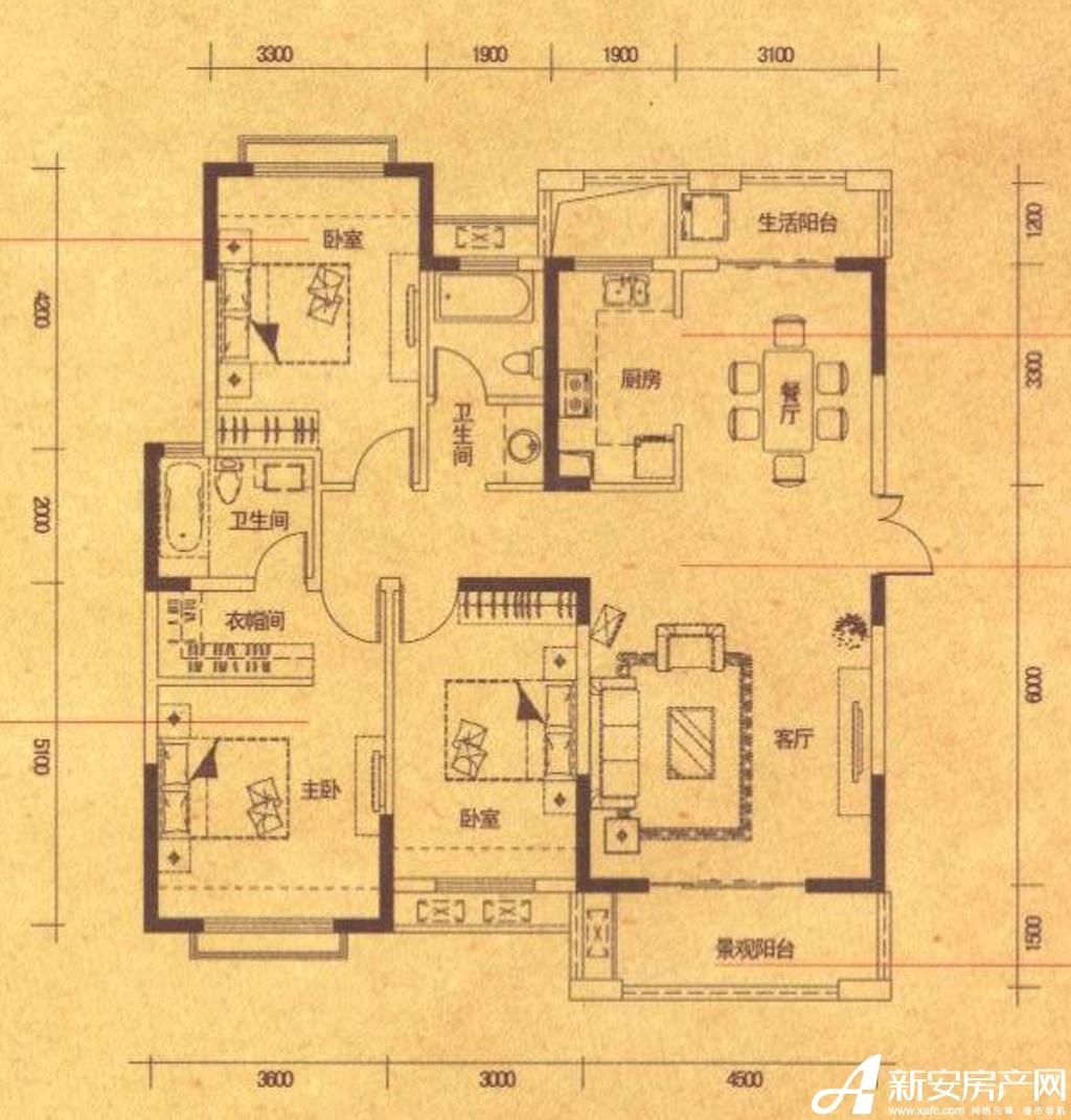 高速铜都天地C1户型3室2厅133平米