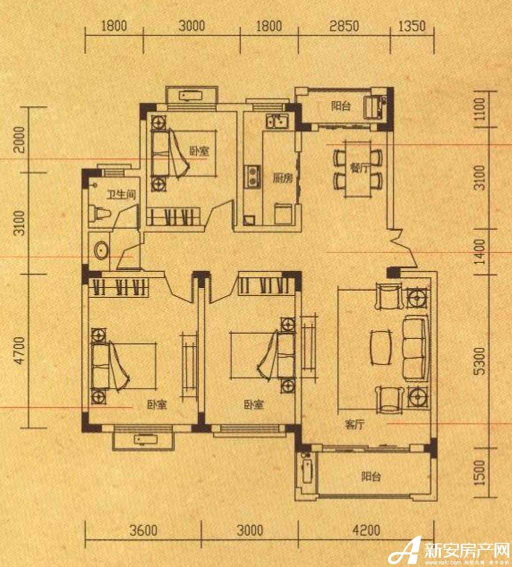 高速铜都天地Y3户型3室2厅133.38平米