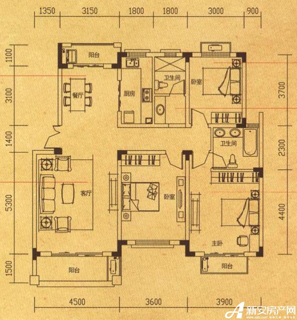 高速铜都天地Y1-2户型3室2厅128.48平米