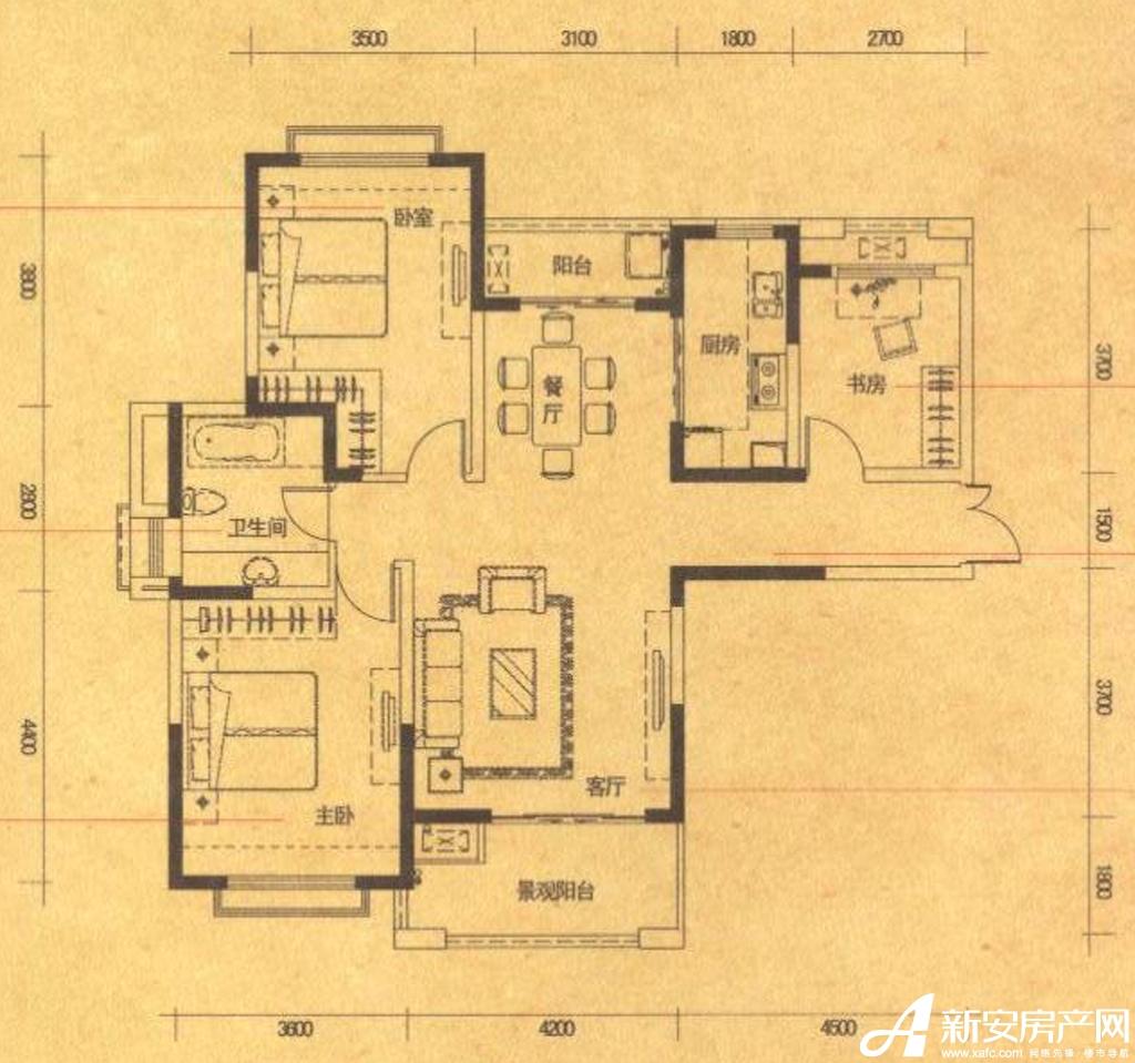 高速铜都天地B1户型3室2厅115平米