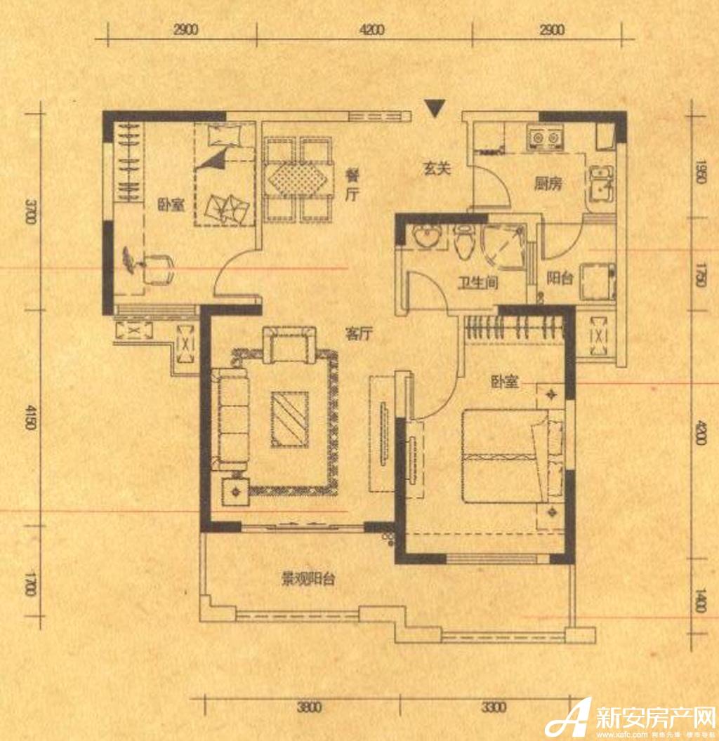 高速铜都天地B2户型2室2厅87平米