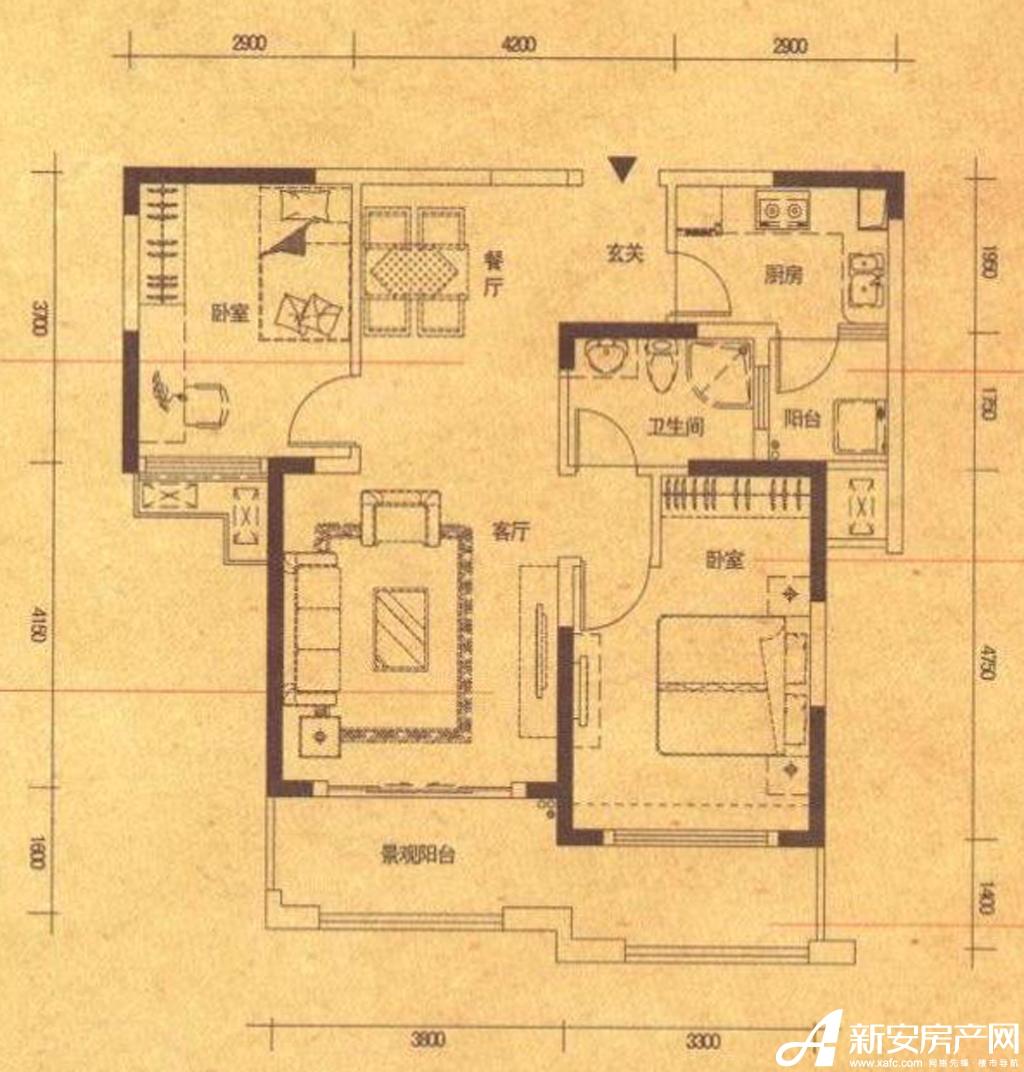 高速铜都天地A22室2厅87平米
