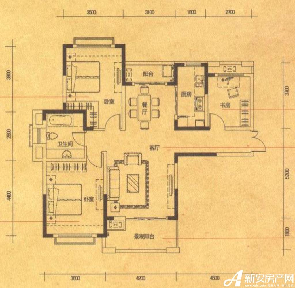 高速铜都天地A13室2厅114平米