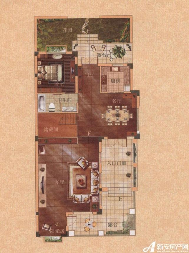 托莱多佩德拉萨佩德拉萨双拼二型东户型首层平面图1室3厅328平米