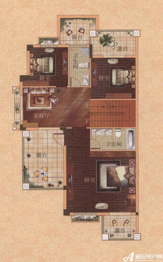托莱多佩德拉萨佩德拉萨双拼二型西户型二层平面图3室1厅328平米