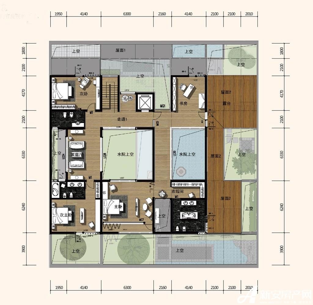 合院合院二层平面图b户型4室2厅255平米图片