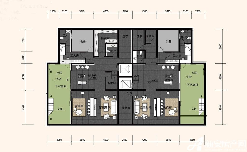 合院合院庭院首层平面图c户型5室2厅172平米图片