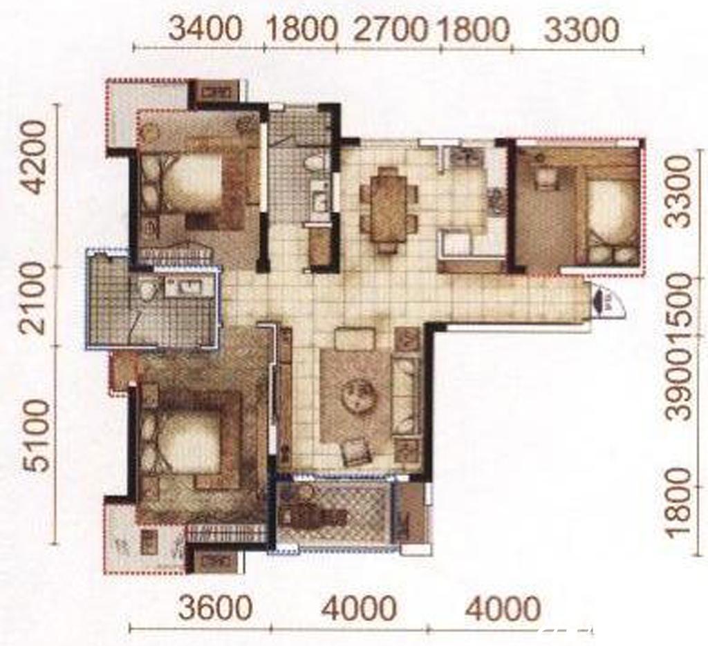 柏庄香域A户型2室2厅114平米
