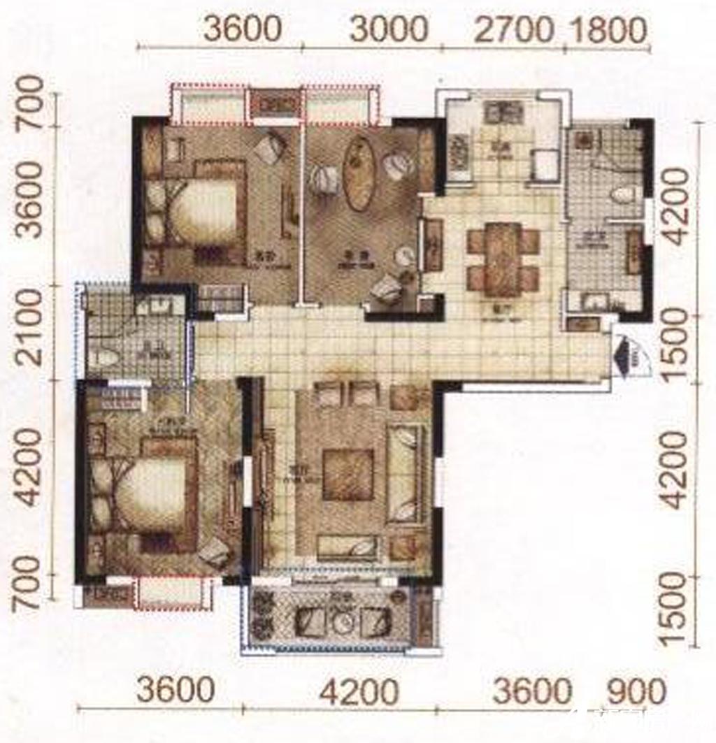 柏庄香域C户型3室2厅122平米