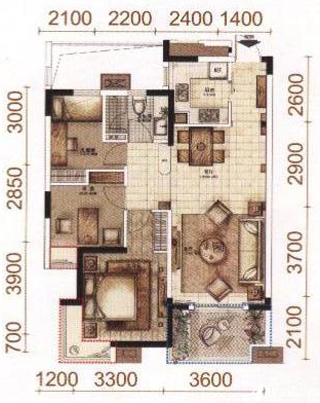 柏庄香域D户型3室2厅89.9平米