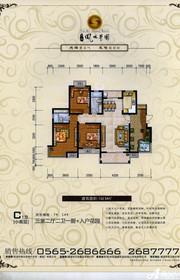 天瑞凤鸣花园小高层C1户型3室2厅132㎡