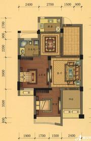 万泰汇富广场E户型2室2厅87.52㎡
