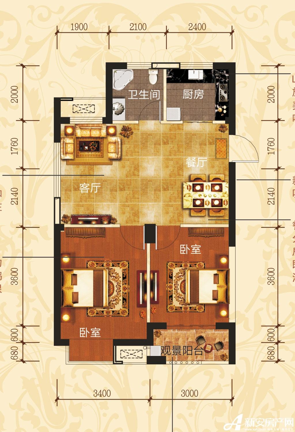 铜冠一品江山E1户型2室2厅73.64平米